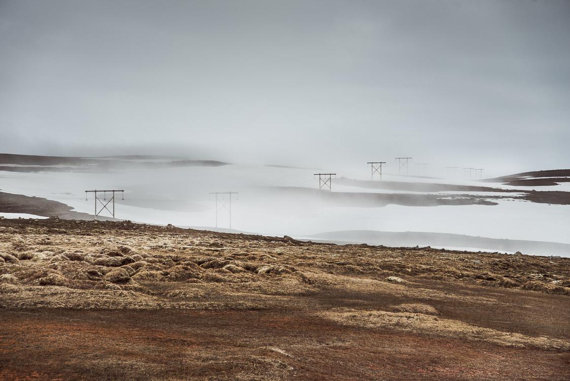 Foggy utility pole iceland Sebastien Mas