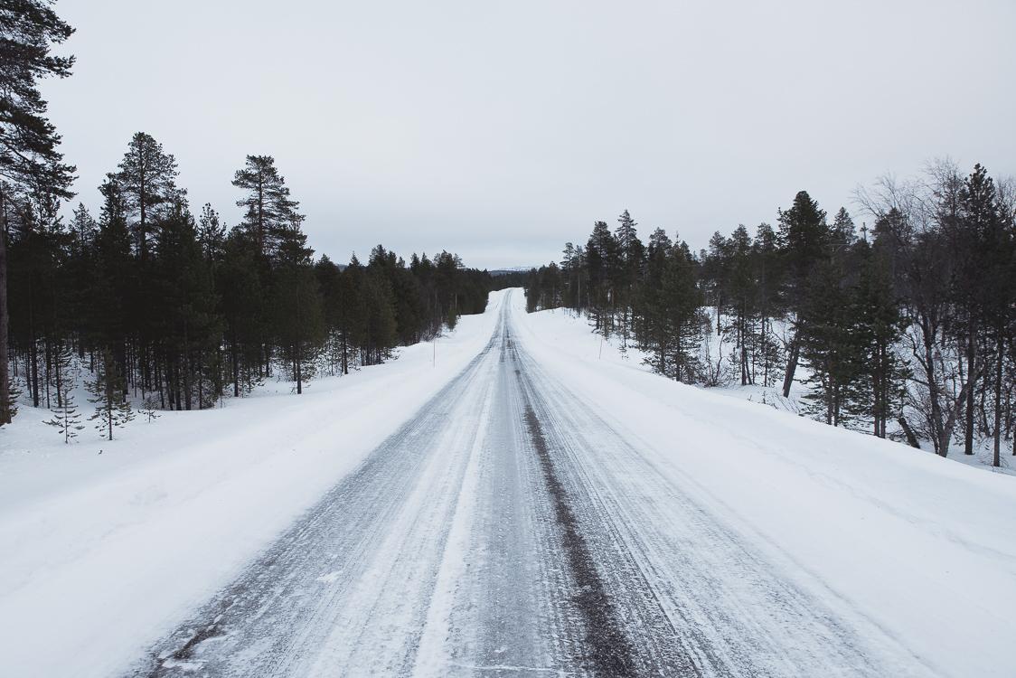 Route gelée Laponie Finlandaise