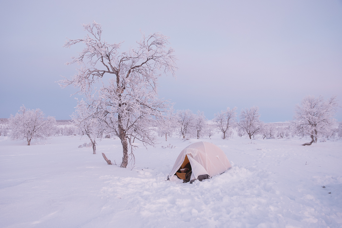 Campsite in Finland Lapland winter