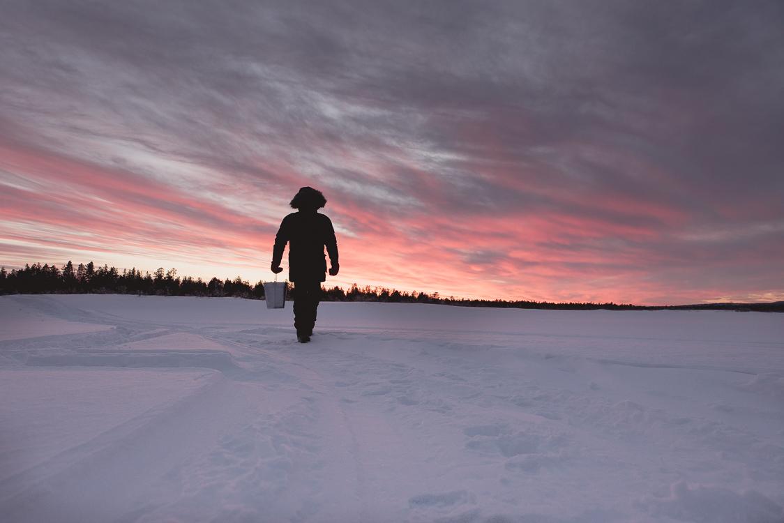 Coucher de soleil plaines de Laponie