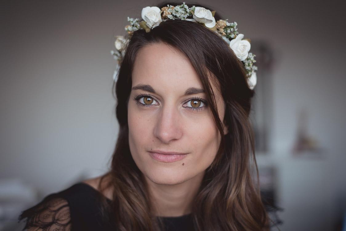 Portrait Marine couronne de fleurs