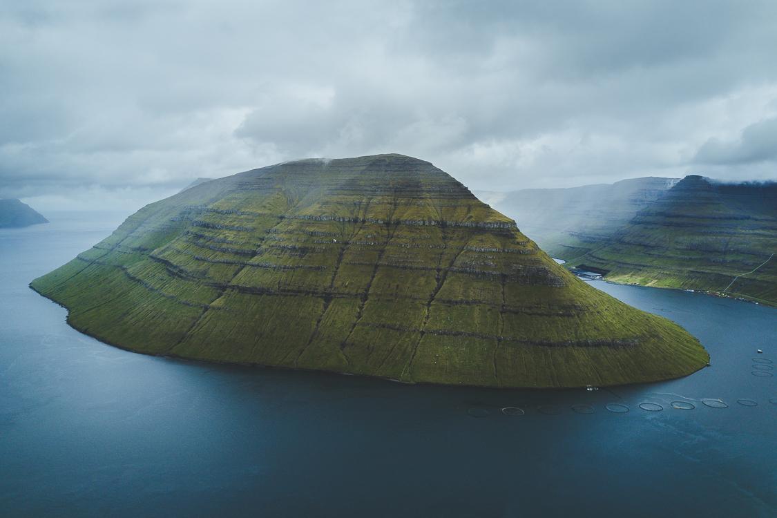 Drone view Klakkur Faroe Islands